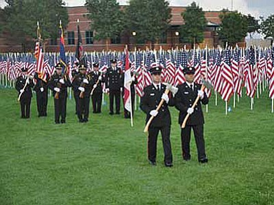 The Prescott Valley Police and Central Yavapai Fire Honor Guards honored those who lost their lives on Sept. 11, 2001 during last year's ceremony.<br> Trib File photo/Heidi Dahms Foster