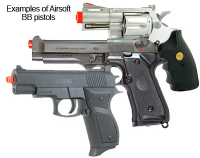 Many Airsoft BB-type pistols look and felt like an actual firearm.