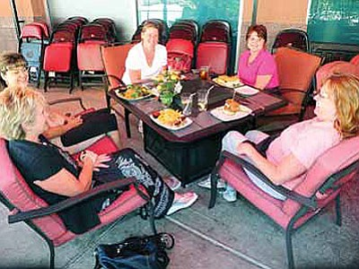 Diana Clemens, Jenny McIntyre, Juli Glover, Karla Young and Mary Ownes enjoy a birthday lunch on the patio at the Fireside Grill in Prescott Valley Wednesday afternoon.<br> Photo courtesy Les Stukenberg/The Daily Courier