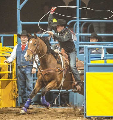 Tom Donoghue/PRCA, Courtesy<br>Trevor Brazile, seen in last year's National Finals Rodeo in Las Vegas this past December, is scheduled to make another ride in the Prescott Frontier Days' World's Oldest Rodeo next month in Prescott.