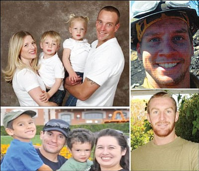 Granite Mountain Hotshots firefighters from Prescott Valley who died Sunday in the Yarnell Hill Fire include, clockwise from top left, Jesse Steed, Anthony Rose, Scott Norris and Joe Thurston.<br> Courtesy Photos
