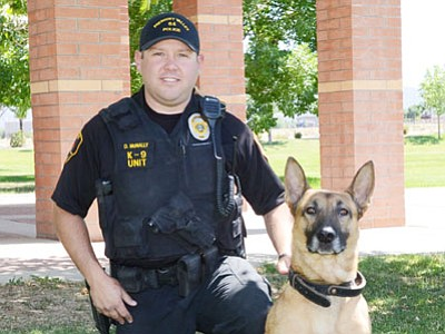 """Participants in National Night Out events this coming Tuesday may have a chance to meet Officer Dave McNally and his new K9 """"Jake."""" Officer Paul Hines and """"Kio"""" also will be out to visit the community during the evening.<br> TribPhoto/Heidi Dahms Foster"""
