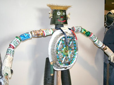 A figure made from recycled items greets visitors to the 2011 Yavapai Fair.<br> Trib Photo/Sue Tone