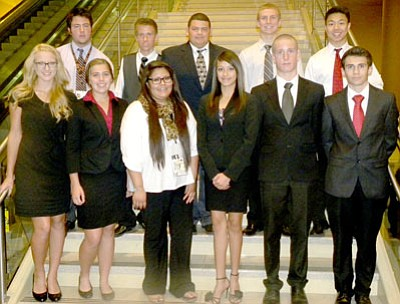 The DECA team from Bradshaw Mountain High School includes students, front row from left: Hayley Ehresman, Athena Bowman, McKenzie Cly, Darcie Hill, Michael Gibbons and Josh Lewis; back row from left: Shahin Mokhtari, Hunter Powell, Victor Mata, Tyler Silva, and Jacky Tam. Students attended the Western Region Leadership Conference in Phoenix Nov. 14-17.<br> Courtesy Photo