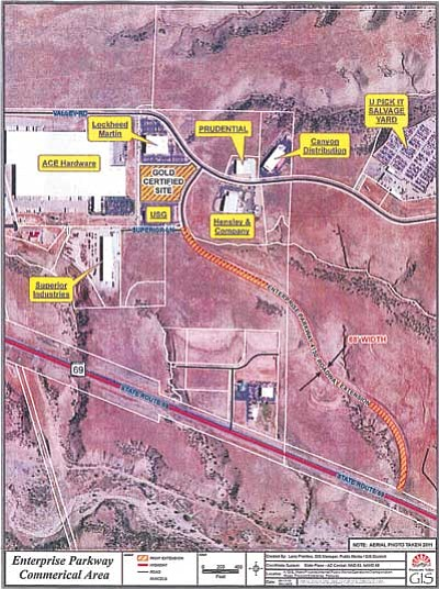 Map shows the location of the proposed Enterprise Parkway that will connect Prescott Valley's Big Sky Business Park, with its Gold Certified Site, to State Highway 69.