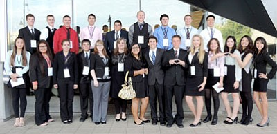BMHS DECA students at Western District Competition were, front row, from left: Danielle Quan, McKenzie Cly, Athena Bowman, Cristan Dominguez, Brittany Cleveland, Christine Van Hout, Patrice Brinkman, Josh Lewis, Hunter Powell, Hayley Ehresman, Kennady First, Carlie Conrad-Caroll, Alondra Castillo, and Darcie Hill. Back row, from left: Michael Gibbons, Colton Shumway, Kevin Lovelady, Daniel Morales, Victor Mata, Evan Wood, Shahin Mokthari, Tyler Silva, and Jacky Tam.<br> Courtesy Photo