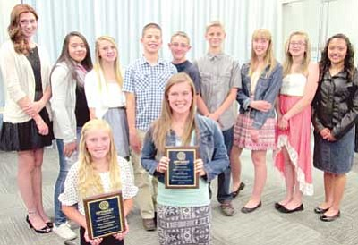 Courtesy Photo<br> Optimist Club of Yavapai County nominees attended a Youth Appreciation night at the Prescott Valley Public Library May 6. In the front row are Brayden Green, Middle School Youth of the Year, and Kylie Morris, High School Youth of the Year. Back row from left are: Reann Buta, Alejandra Ramirez, Makenzie Broxemeyer, Parker Hines, Kameron Ray, Owen Mayotte, Julia Goswick, Anna Namanny, and Madai Espinoza.