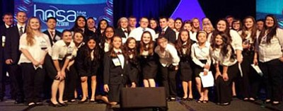 Bradshaw Mountain and Chino Valley High School HOSA members pose for a group photo during the Arizona Spring Leadership Conference in Tucson this past April. Out of 37 students competing, 17 qualified for the national competition which will be later this month.<br> Courtesy Photo