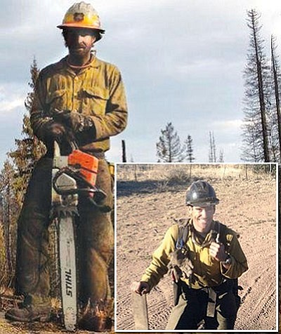 "Saw partners Scott Norris, left, and Joe Thurston, inset, ""were very effective together and loved working together,""  as Granite Mountain Hotshots, said Scott's mom, Karen Norris.  Below, Scott sent an iPhone picture to his parents from the Doce Fire in 2013.<br> Courtesy Photos"