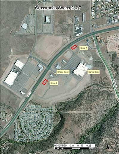 Courtesy of Prescott Valley <br> Shops 2 & 7 in Parcel C on the south side of Highway 69 will add over 15,000 square feet of commercial space, including parking, at the Crossroads in Prescott Valley.
