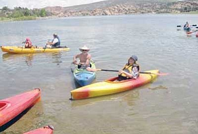 Courtesy Photo<BR> A Meetup group goes kayaking at Prescott's Watson Lake in August of 2012.