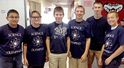 The Science Olympiad team from Liberty Traditional School pose after the Oct. 18 competition at Glassford Hill Liberty School. From left are Richard Ponstler (7th grade), Darren Brown (7th grade), Alex Cyr (8th grade), Logan Brannon (8th grade), Zion Padilla-Melton (8th grade), and Derrik Elsholz (7th grade).<br> Courtesy Photo