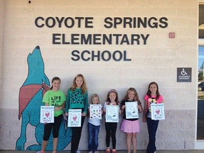 Prescott Valley's Coyote Elementary School students display MATFORCE Don't Get Me Started Prevention workbooks they used during Red Ribbon Week. From left to right: Ava Poitras, Megan Cage, Trinity Harris, Ava Lee, Ella Poitras and Alexis Lee.<br> Courtesy Photo