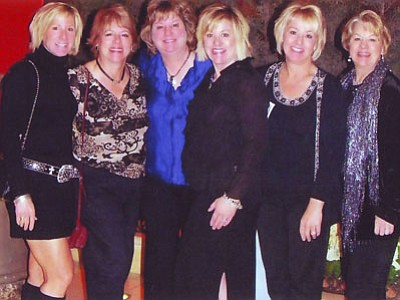 The Morger family sisters, from left, Valerie Morger, Venetta Morger, Darcy Morger-Grovenstein, Lisa Morer-Miller, Wallis Morger Bryan and the late Audra Morger-Bonilla, discovered that a cancer-causing gene mutation runs in their family.<br>Courtesy photo