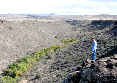 Courtesy Photo<br /><br /><!-- 1upcrlf2 -->Jack Johnson stands above Silver Creek in this November 2008 photo taken by Ted Johnson, Jack's brother.