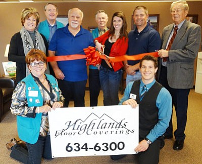 The Chamber recently held a ribbon cutting for new member Highlands Floor Coverings. Pictured are (from left to right) CEO Marnie Uhl; Ambassador Jean Lupa; Ambassador Charlie Hall; Highlands Floor Coverings Jim Hendron; Ambassador Larry Cox; Highlands Floor Coverings Gretle Mangus; Highlands Floor Coverings Mark Furr (owner); Membership Services Zack Hurt; and Prescott Valley Mayor Harvey Skoog.