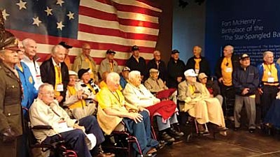 Courtesy Photo<br /><br /><!-- 1upcrlf2 -->World War II veterans visit Ft. McHenry this past month as part of their Honor Flight trip to Washington, D.C., to visit the WWII Veterans Memorial.