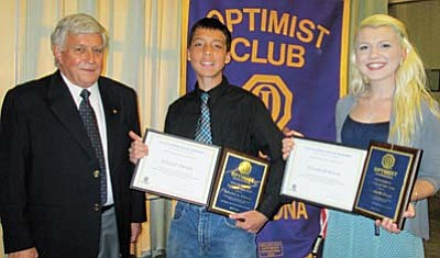 Courtesy Photo<br /><br /><!-- 1upcrlf2 -->The Optimist Club of Yavapai County recently awarded scholarships to two local students. From left are Optimist Club President Butch Miller, Heritage Middle School, Chino Valley seventh-grader Edward Umana, and Bradshaw Mountain High School graduate Elizabeth Kruse.