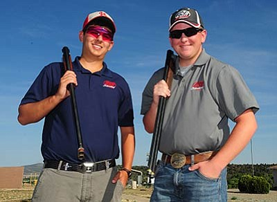 Les Stukenberg/The Daily Courier<br /><br /><!-- 1upcrlf2 -->Colton Underwood, right, and Joe Witty are 2/3 of the 2015 Arizona SCTP State Skeet Champions. Missing is Cole Parrish, who was at soccer practice during this shooting practice.