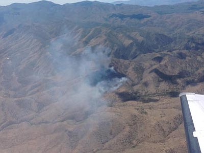 An aerial view of the SA Fire, burning on the north side of SA Hill, southwest of Mayer. (Courtesy photo)
