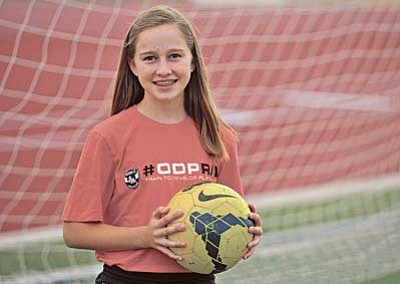Matt Hinshaw/The Daily Courier<br /><br /><!-- 1upcrlf2 -->Hailey Denman, a 12-year-old seventh grader at Glassford Hill Middle School in Prescott Valley, was one of 13 girls from Arizona, Colorado, Nevada and New Mexico who were chosen to attend the U.S. Youth Soccer 2015 Region IV Olympic Development Program Regional Camp this summer in McMinnville, Oregon. Denman, an honors student, played for the Prescott Blackhawks, a Club soccer team, the past two years and will be competing for the Scottsdale Blackhawks Club team in 2016.<br /><br /><!-- 1upcrlf2 -->