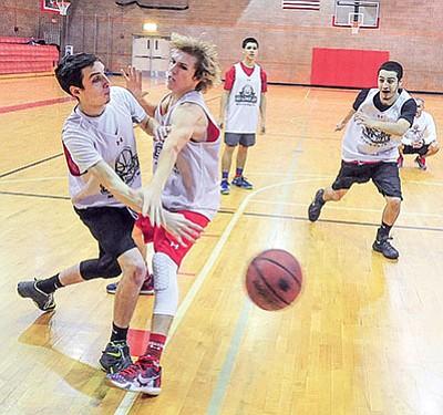Bradshaw Mountain boys basketball players practice before the season. (Les Stukenberg/PNI)