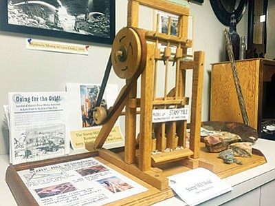 A model of a stamp mill on display at the Prescott Valley Historical Society's office in the Prescott Valley Civic Center on the first floor. (Les Stukenberg/PNI)