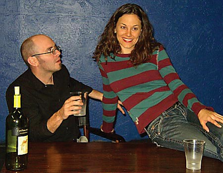 VVN/Michelle Borgwardt: <b>Writer Michael Waterman (Mike Levin)</b> and assistant Abby (Laura Cooper) share a flirtatious moment in <i>Fiction,</i> by American playwright Steven Dietz.