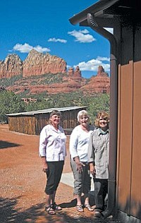 From left, Palatki Questers President Kay Klein, grant writer & Palatki member Dianne Hedquist and Sedona Questers President Cynthia Batchelder - admiring the work at the Sedona Heritage Museum