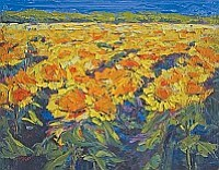 """Sunflower Field"" by Cynthia Reid, a 14""h x 18""w oil on canvas painting, is one of the new works the Tucson artist will unveil at Lanning Gallery during Sedona's ""1st Friday"" event on October 7th."