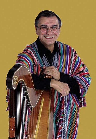 Courtesy photo<br /><br /><!-- 1upcrlf2 -->Composer, author, educator and recording artist Alfredo Rolando Ortiz performs on the Paraguayan harp for the Verde Valley Concert Association on Feb. 18.