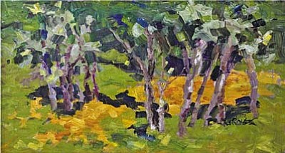 "Detail of ""Maples with Yellow Carpet""  by renowned author and impressionist Adele Seronde, who now paints the gardens that she so loves."