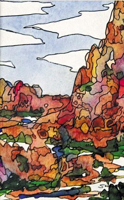 Sedona Rocks #4 by Pat Sharp. Sharp creates abstract scenes of Sedona Red Rocks.