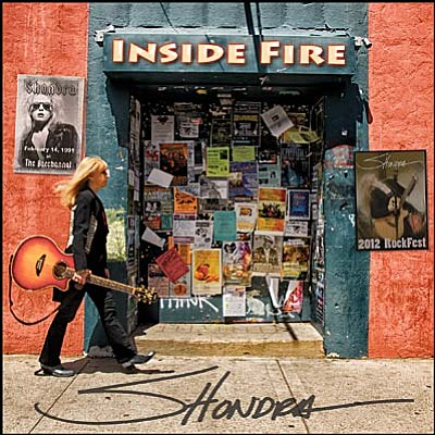 Shondra's Inside Fire is a re-master of rock 'n' roll from her days in Southern California in the 1980s and '90s. CD cover by Larry Pollock.