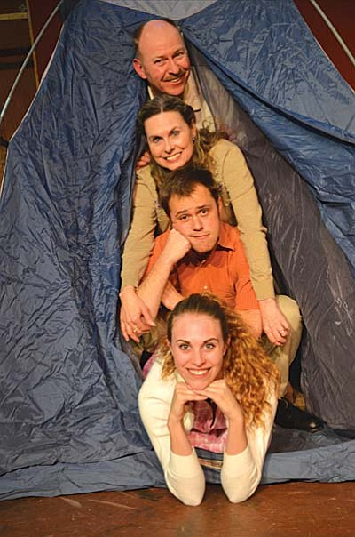 Camping out with the family in Shifting Gears at Canyon Moon. Top to bottom: Henry (Michael Peach), Annie (Tricia Greer), Junior (Tony Latham) and Karen (Katarina Crawley). Photos by Beverly Copen