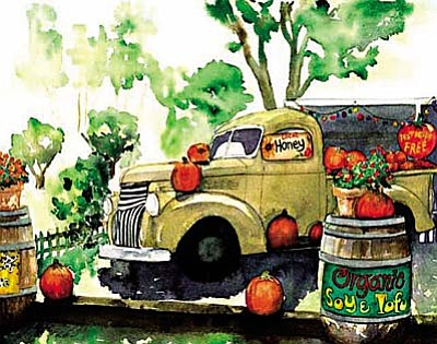 "Clarkdale Artist Judy Jaaskelainen's ""Local Honey"" inspired by an old pickup truck at the old Maxfield's Produce Market in Cornville"