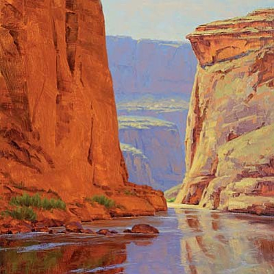Cody DeLong's newest painting from his recent Grand Canyon River trip will be on display at his studio/gallery in Jerome during the June 1st Art Walk.