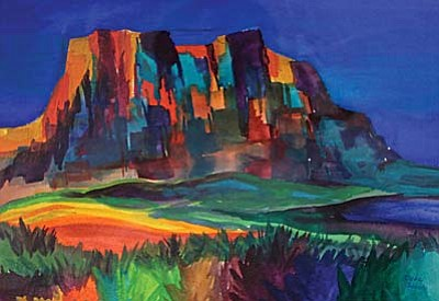 """""""Courthouse Rock,"""" Watercolor by Vada Lovato"""