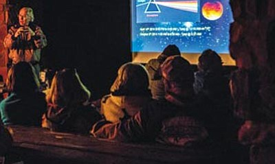 J.D. Maddy, president of The Verde Valley Astronomers, explaining lunar eclipse. (Photo Credit: Susan L. Amon)