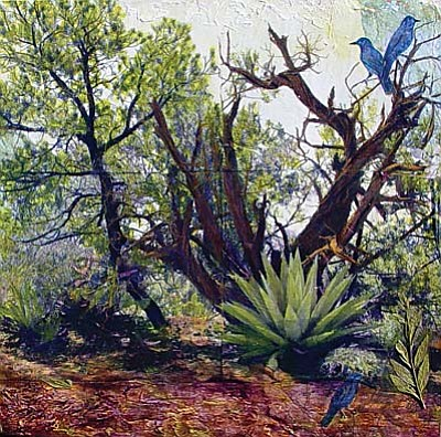 """""""Pinon Harmony,"""" a 20""""h x 20""""w mixed media piece, is by new artist Judith Monroe whose work is highlighted in """"New Art for the New Year"""" opening """"1st Friday"""" at Lanning Gallery.<br /><br /><!-- 1upcrlf2 -->"""