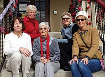 This ladies who 'bombed' the Library, from left,  Janet Klebe, Cass Schorsch, Mary Liggit, Elaine Sakelarios, Isabel Simmer. Courtesy photo