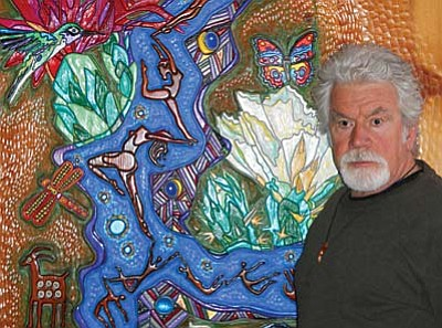 David Fischel is also known for the grand scale of his works. Currently on display in the lobby at Enchantment resort is his unique painted wood relief carving Blue Ribbon, an imposing piece that is over 8 feet high and took over 16 months to complete.