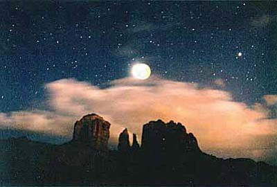 Photo by Dennis Young, Lunar Eclipse over Cathedral Rock 1997.
