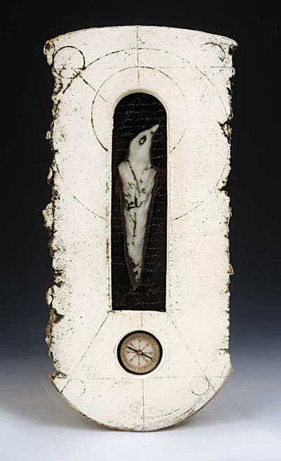 """Flux Gallery presents ceramic sculpture titled """" In a Fathom's Compass"""" by Novie Trump. Photo by Greg Staley."""