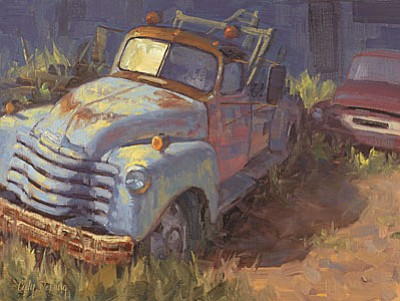 """Cody DeLong will be doing a demo in his studio during Jerome Art Walk. See his new painting """"Friends in Retirement."""""""