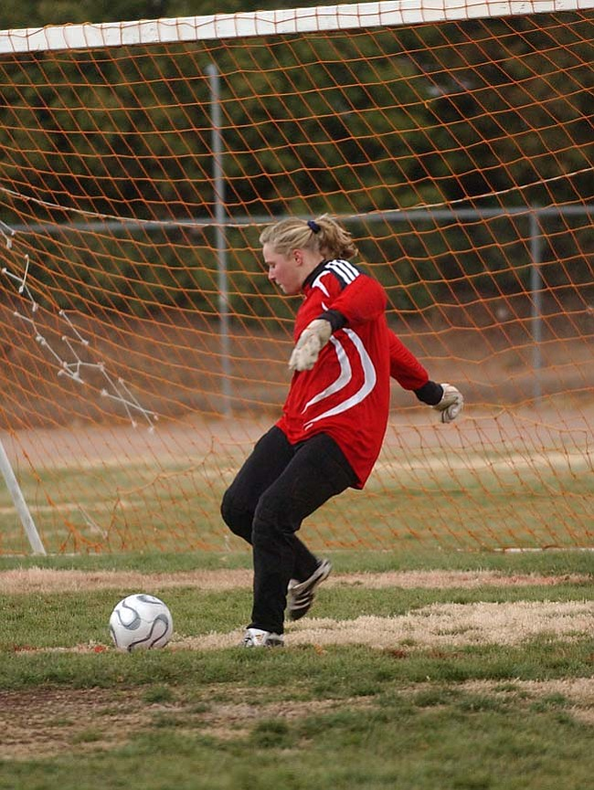 Tessa Fanning clears the ball away from the goal during a game earlier this season.