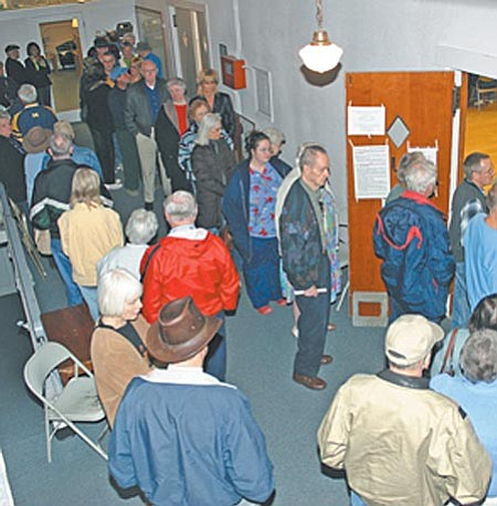 Voters waited in line up to two hours to vote at the old Clemenceau School in Cottonwood. VVN/Philip Wright