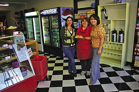 VVN/Philip Wright<br /><br /><!-- 1upcrlf2 -->Miller's Market at 915 Main St. in Clarkdale is a combination bakery, general store, market and deli. Laura Jones, left, and Rachel Jackson, right, are partners in the store. Maria Jackson, Rachel's mother, will create fresh baked goods daily.