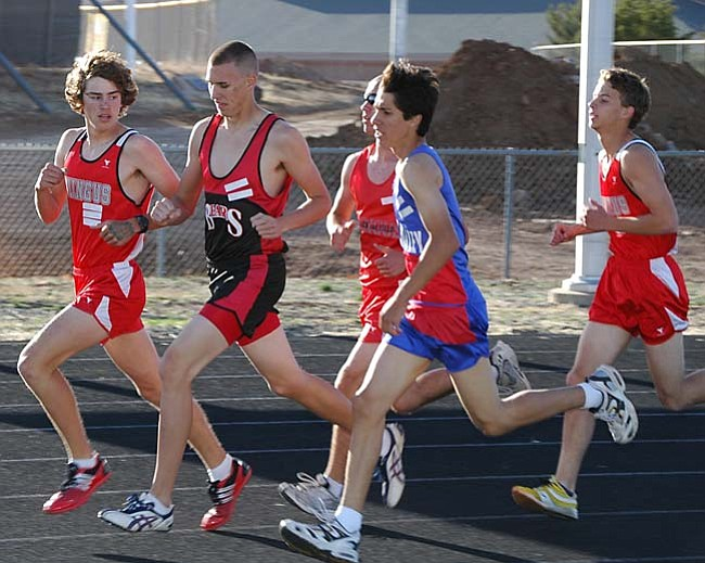 Photo by Cheryl Hartz The Mingus Union track team hit the lanes for a relay meet in Tucson on March 15.
