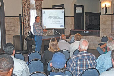 Project engineer for ADOT, Tom Ward gave a presentation Wednesday evening in Clarkdale to update residents on the work being done on State Route 89A and State Route 260. The section of 89-A between Black Hills Drive and Cement Plant Road will be turned into a four-lane highway containing five roundabouts. VVN/Philip Wright